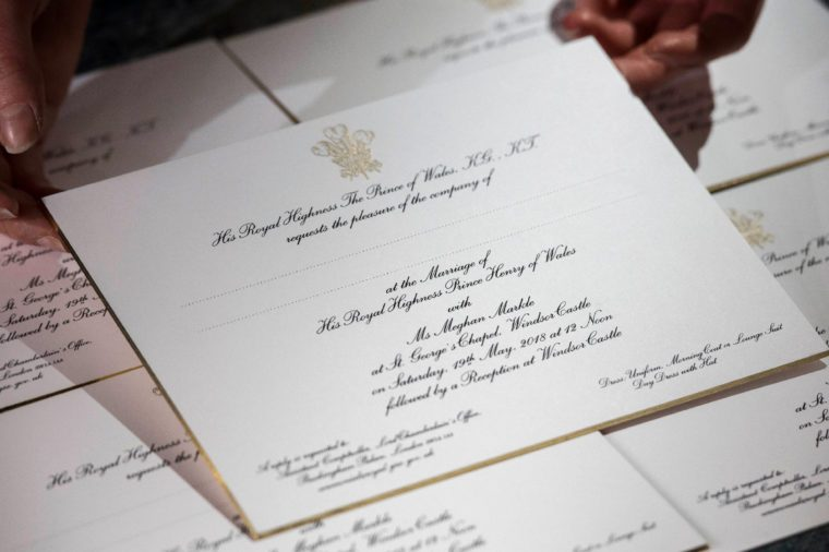 Invitations for Prince Harry and Meghan Markle's wedding in May, after they have been printed at the workshop of Barnard and Westwood in London.