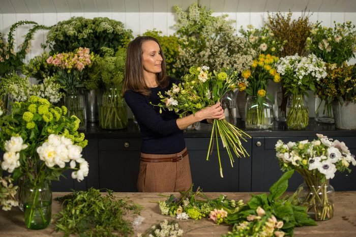 Florist Philippa Craddock, who has been chosen to create the floral displays for the wedding of Prince Harry and Meghan Markle, in her studio.