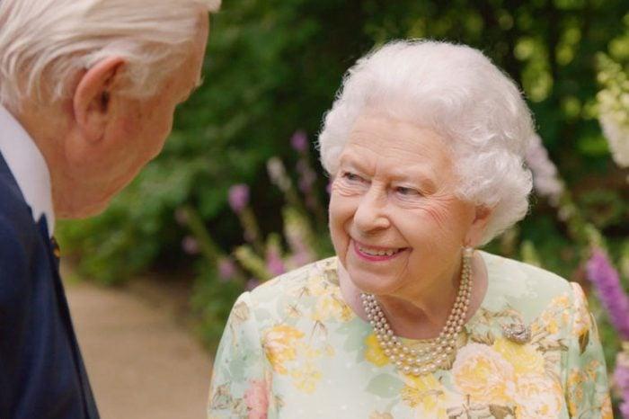 Sir David Attenborough joins Queen Elizabeth II in the gardens of Buckingham Palace