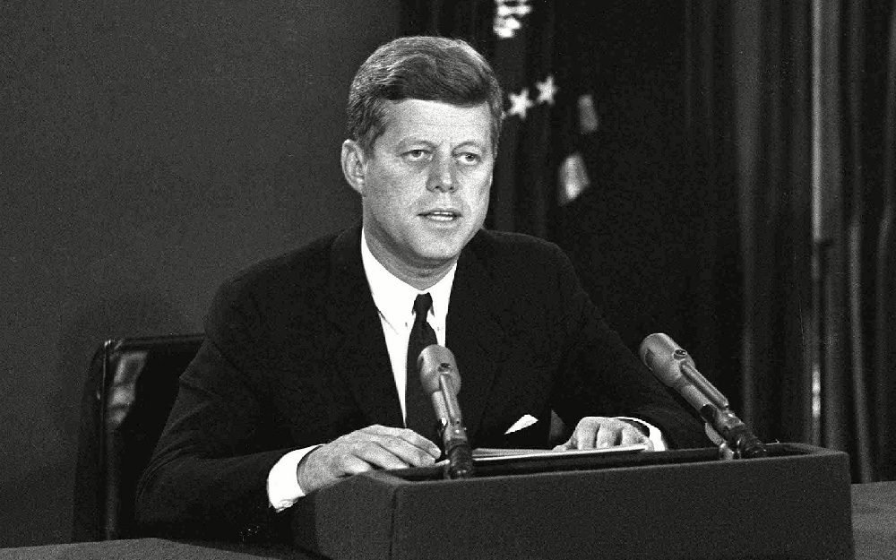 MISSILE SITE President John F. Kennedy makes a national television speech, from Washington. He announced a naval blockade of Cuba until Soviet missiles are removed