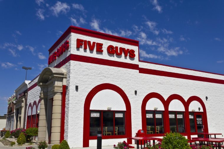 Indianapolis - Circa June 2016: Five Guys Restaurant. Five Guys is a Fast Casual Restaurant Chain in the US and Canada I