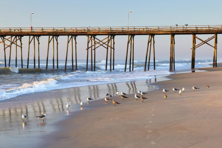 Sea gulls and fishing pier at Kure Beach, North Carolina