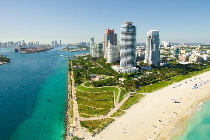 South Beach, Miami Beach. Florida. Aerial view. Paradise. South Pointe Park and Pier