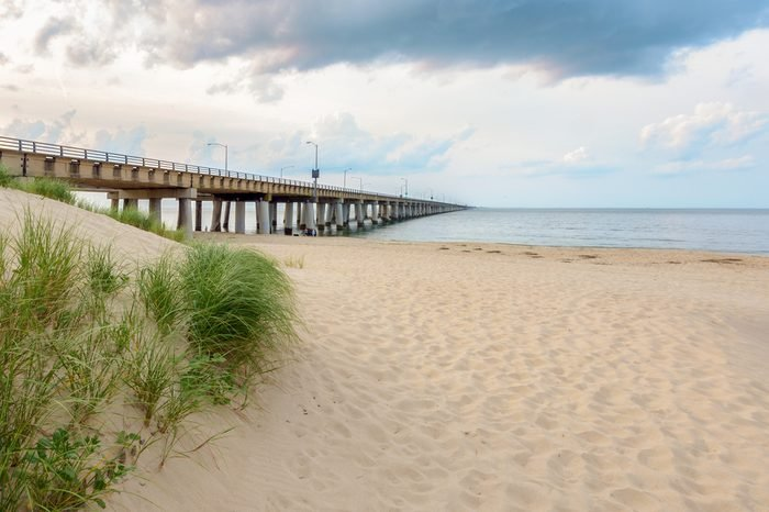 The Chesapeake Bay Bridge as seen from the Virginia Beach side. This Location is locally known as Chick's Beach