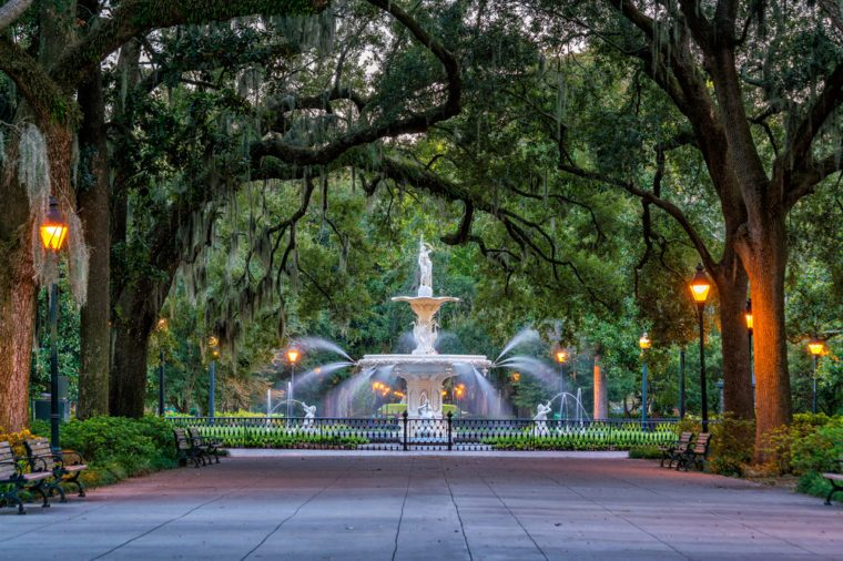 Famous historic Forsyth Fountain in Savannah, Georgia USA