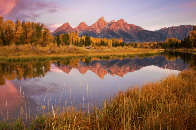 An autumn sunrise over Schwabacher's Landing in Grand Teton National Park, Wyoming.