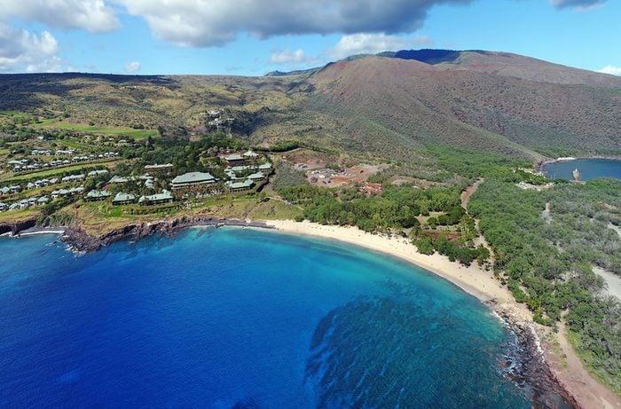 Drone Aerial Panorama - Hulupoe Bay - Island of Lana'i, Hawaii