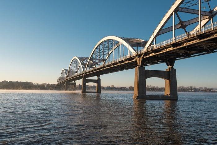 Centennial Bridge Crosses the Mississippi River from Davenport, Iowa to Moline, Illinois