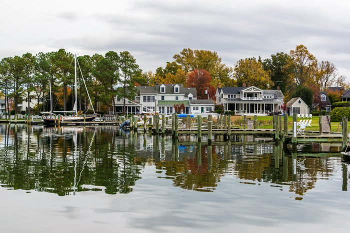 Autumn Color the Chesapeake Bay Shore and Harbor in St Michaels Maryland