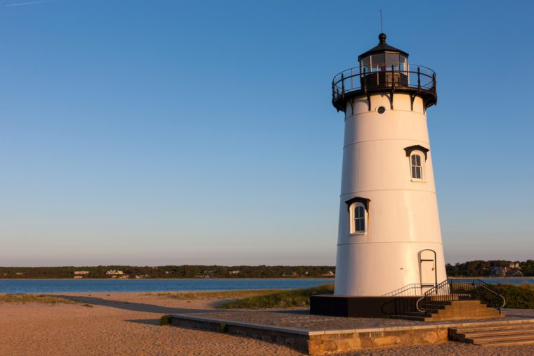 Sunset at Edgartown Lighthouse at Lighthouse Beach, Martha's Vineyard, USA