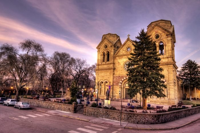 An HDR image of the Cathedral Basilica of St Francis of Assisi in Santa Fe, New Mexico