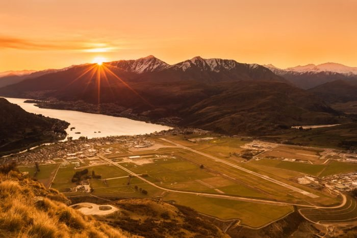 lake and mountain landscape in Queenstown, New Zealand