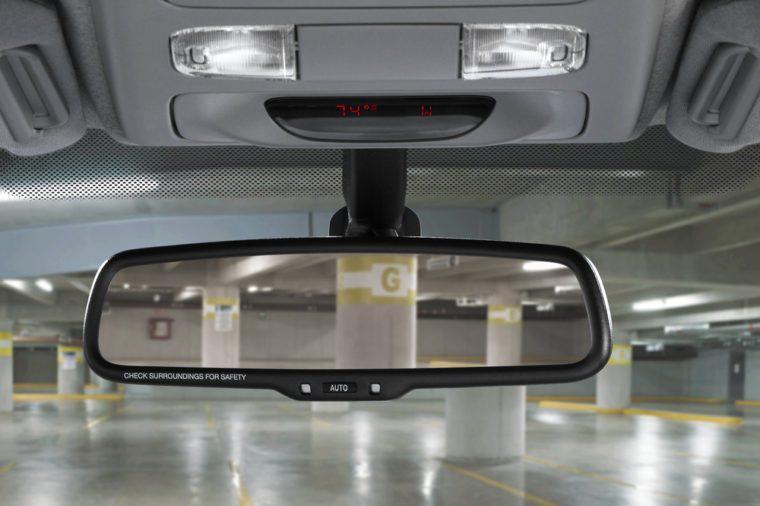 car mirror in parking