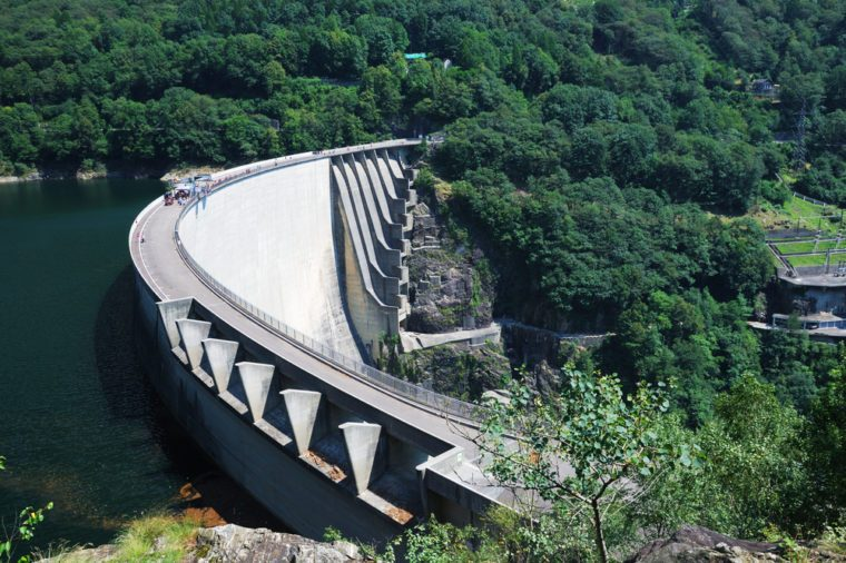 The Contra Dam is a concrete slender arch dam in the Swiss Alps. It supports a 105 MW power station. The dam creates a water reservoir Lago di Vogorno. It became a popular bungee jumping venue.