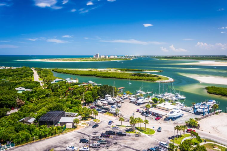 View of Ponce Inlet and New Smyrna Beach from Ponce de Leon Inlet Lighthouse, Florida.