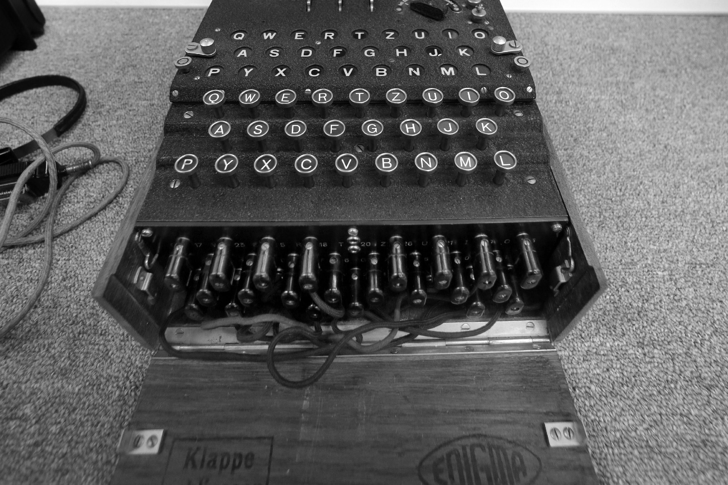 """A Nazi Enigma encryption machine is displayed at the World War II Museum in Natick, Mass., . In the Oscar-nominated film """"The Imitation Game,"""" Benedict Cumberbatch leads a code-breaking operation targeting the Nazis' infamous Enigma encryption machines. The obscure suburban Boston museum boasts the largest U.S. collection of Enigmas outside of the NSA"""