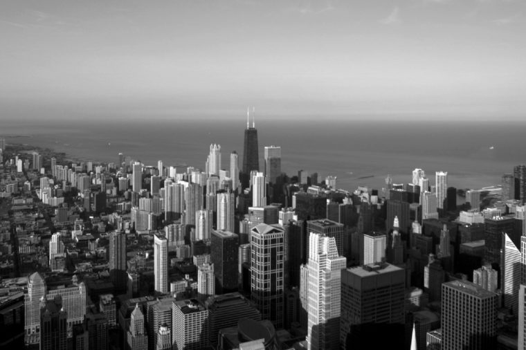 AERIAL VIEW OF THE JOHN HANCOCK CENTER OVER LOOKING LAKE MICHIGAN, CHICAGO, ILLINOIS, AMERICA - OCT 2004