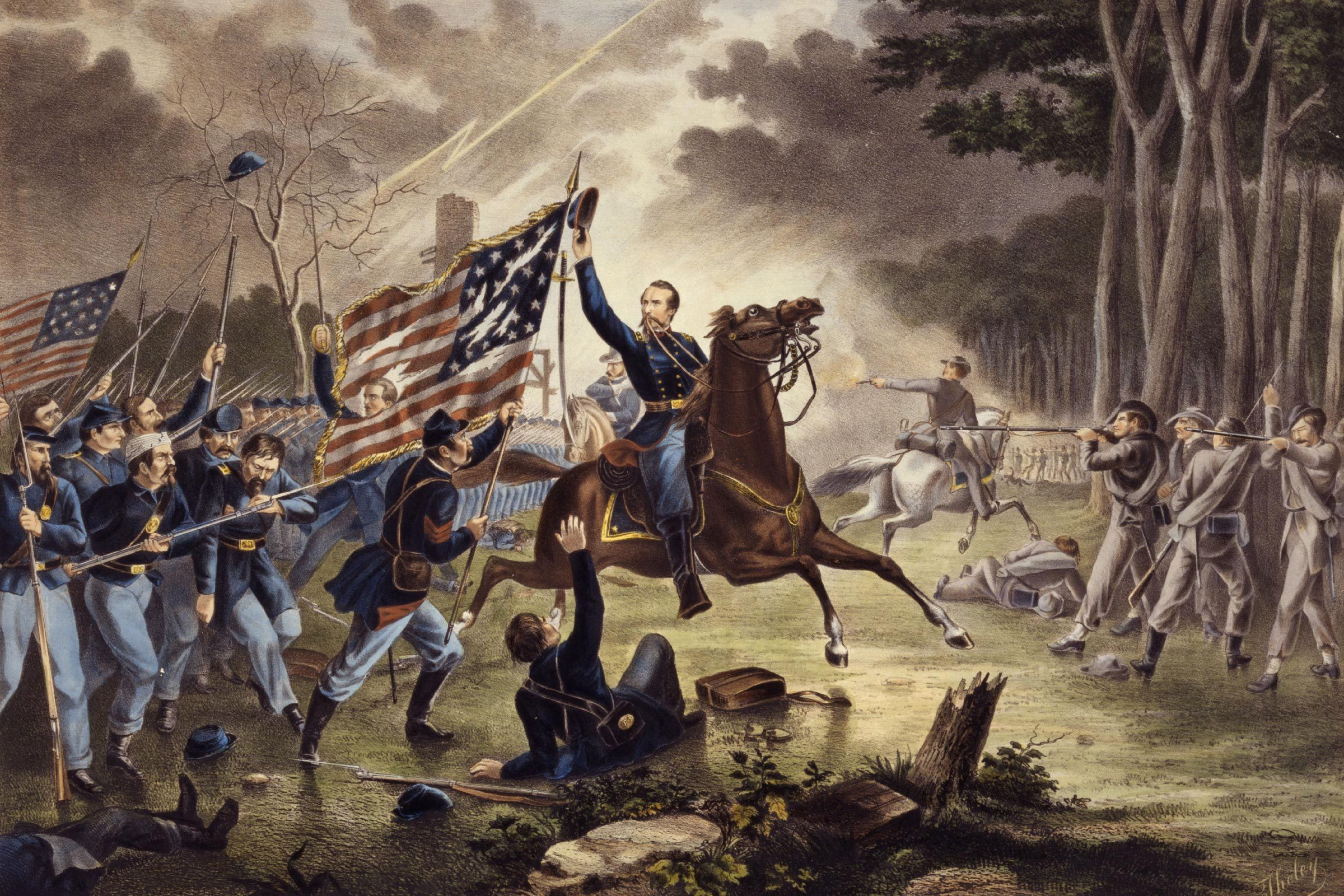 American Civil War 1861-1865: General Kearney's gallant charge, Battle of Chantilly (Ox Hill), Virginia, 1 September 1862. Kearny mistakenly rode into the Confederate lines and was killed. Confederate strategic victory. Print l867.