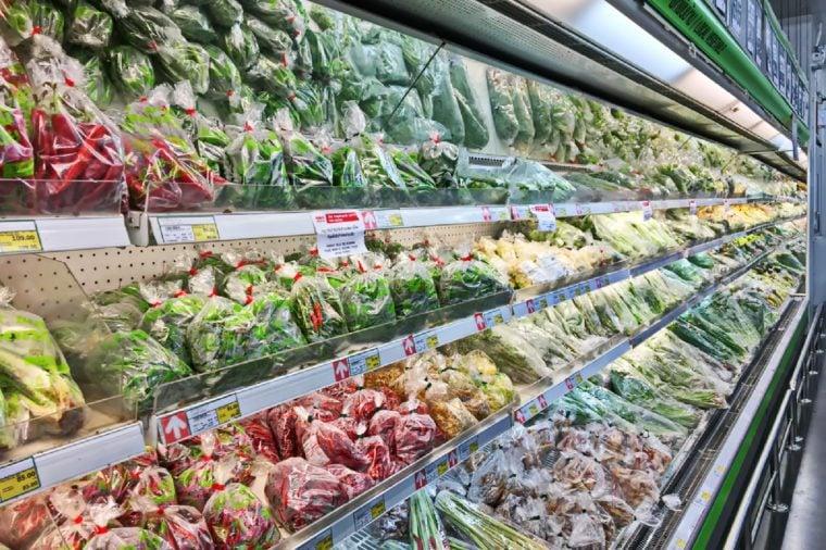 Bangkok, Thailand - September 24, 2017: Shelf of fresh vegetables in packaging for sale at Makro supermarket. Makro supermarket is a big supermarket in Thailand.