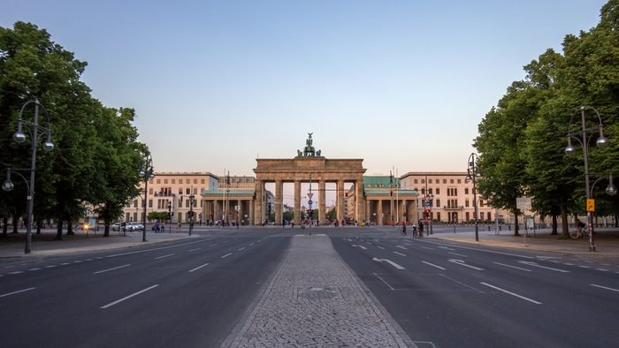BERLIN, GERMANY - MAY 22, 2014: View on the Brandenburg Gate from in Berlin.