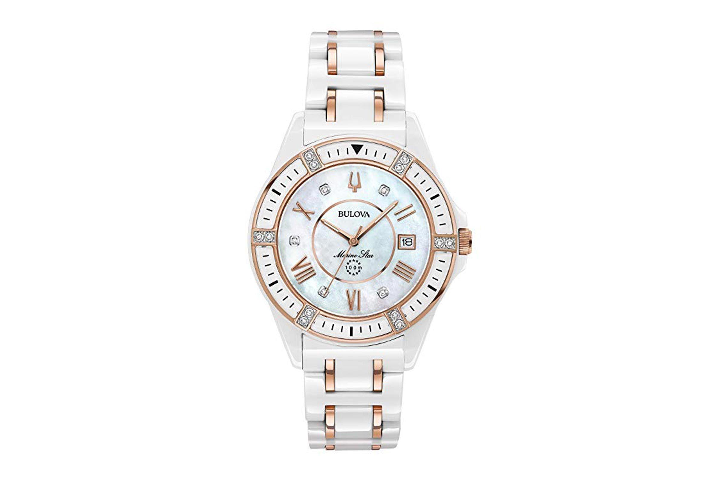 Bulova Women's Marine Star White Ceramic Rose Goldtone Accents Bracelet Watch