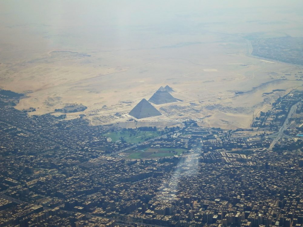 Cairo, EGYPT - August 28, 2014: The outskirts of Cairo View from air