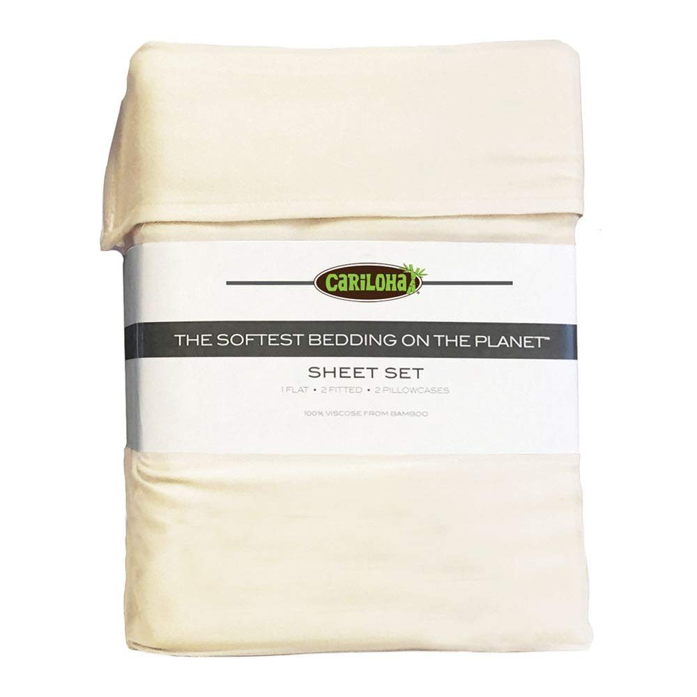 Cariloha Classic Bamboo Sheets 4 Piece Bed Sheet Set - Softest Bed Sheets and Pillow Cases - Lifetime Protection (Queen, Ivory)