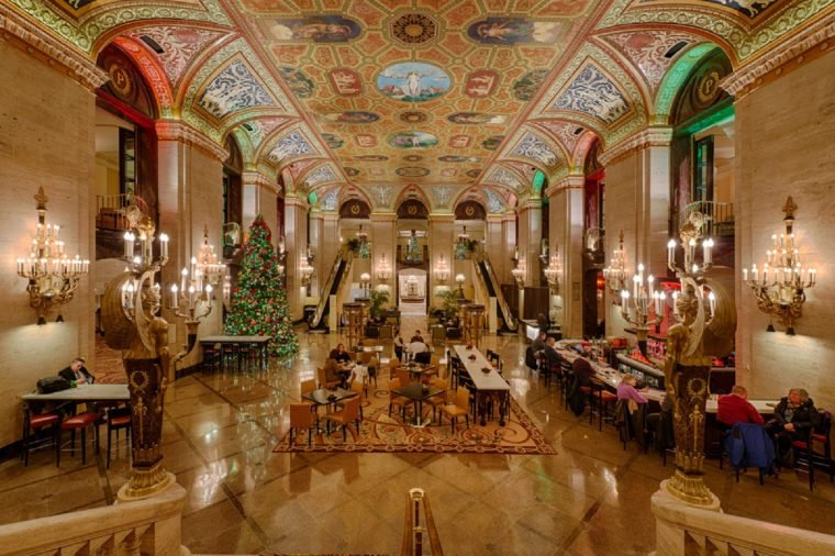 CHICAGO, ILLINOIS - DECEMBER 18, 2013: Lobby of the historic Palmer House Hotel (1875) on December 18, 2013 in Chicago, Illinois