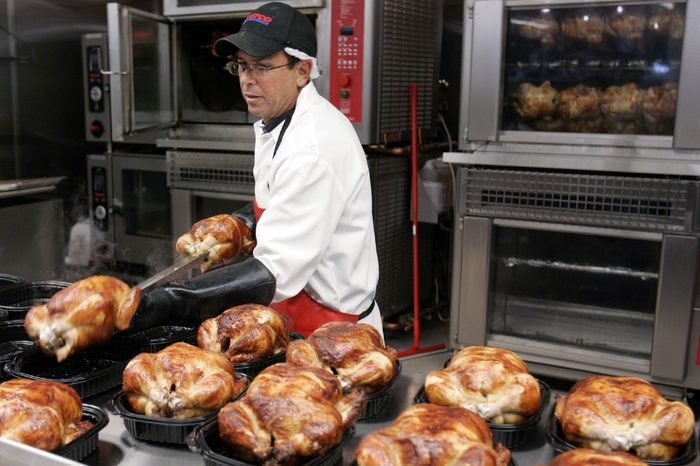 Costco A Costco butcher spreads out roasted chicken at Costco in Mountain View, Calif., . Monthly sales reports issued Thursday were better than expected, but still pointed to a consumer contending with rising gas prices, sagging home values and worries about jobs. Wal-Mart Stores Inc. and Costco Wholesale Corp. were among the top performers last month, while most mall-based apparel stores struggled