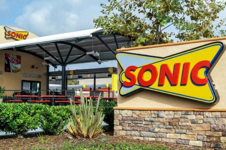 COSTA MESA, CA/USA - OCTOBER 17, 2015: Sonic Drive-In Restaurant exterior. Sonic Corp. is an American drive-in fast-food restaurant chain.