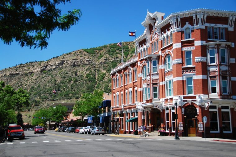 DURANGO, CO, USA - JUNE 8, 2013: A view of Main Avenue in Durango, featuring Strater hotel. The historic district of Durango is home to more than 80 historic buildings.