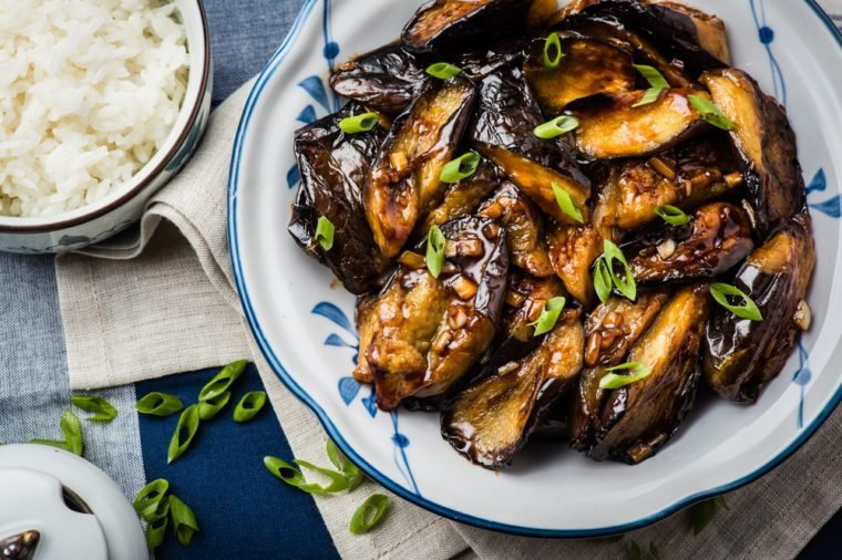 Chinese Style Eggplant Stir-Fry with a Rich Brown Garlic Sauce
