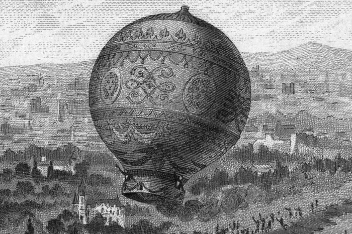 First manned free balloon flight, Pilatre de Rozier and the Marquis d'Arlandes, 21 November 1783, in Montgolfier (hot air) balloon from the Bois de Boulogne, Paris, France, travelling 9km in 25 minutes. Aeronautics Aviation Ballooning