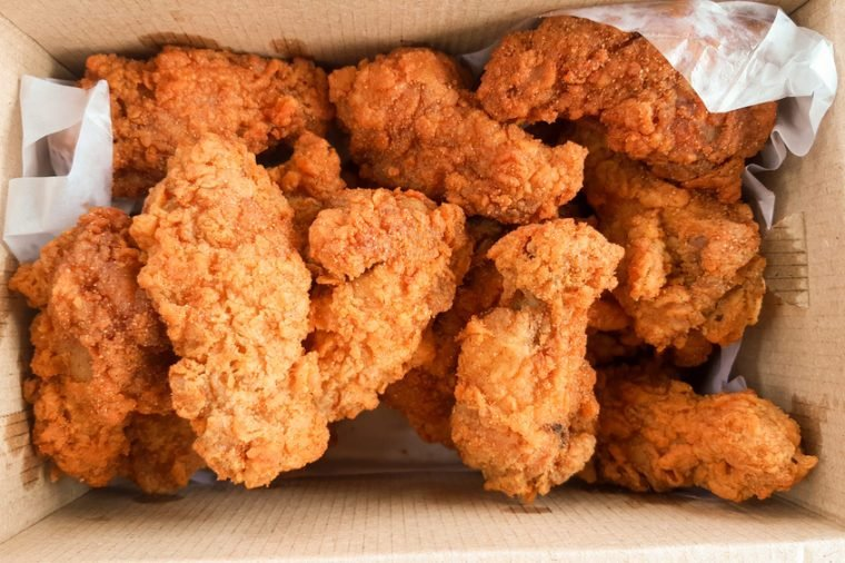 crispy kentucky fried chicken in delivery box