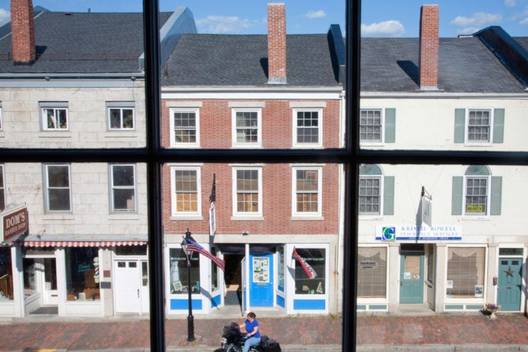 HALLOWELL, ME - JUNE 09: Storefront in Water Street through a window on June 09, 2012 in Hallowell, Maine