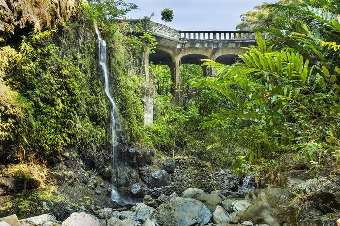 Bridge on the Hana Highway across the Wailua Nui Stream near the Upper Waikuni Falls on Maui Island in Hawaii.