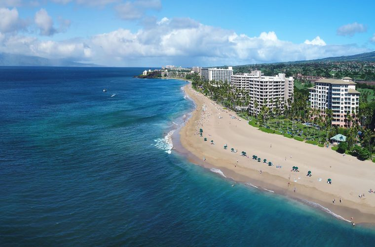 Kaanapali Beach (Aerial Pano) - Island of Maui, Hawaii