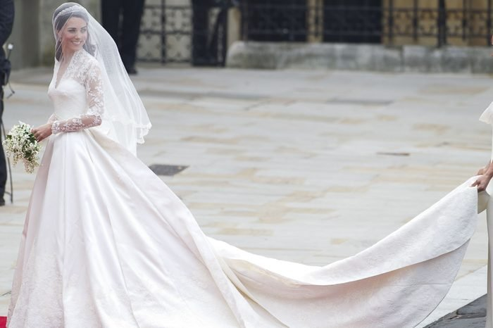 Kate Middleton Arrives at Westminster Abbey London Britain 29 April 2011 For Her Wedding Ceremony Westminster Abbey Has a Long Tradition As a Venue For Royal Weddings Going Back to 1100 William's Grandparents Queen Elizabeth Ii and Prince Philip Duke of Edinburgh Got Married There on 20 November 1947 the Bride Wears a V-neck Alexander Mcqueen Gown Designed by Creative Director Sarah Burton and a 1936 Cartier Halo Tiara Lent to Her by Queen Elizabeth United Kingdom London
