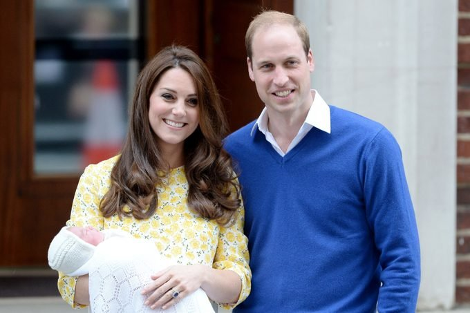 Prince William and Catherine Duchess of Cambridge with baby daughter Princess Charlotte of Cambridge