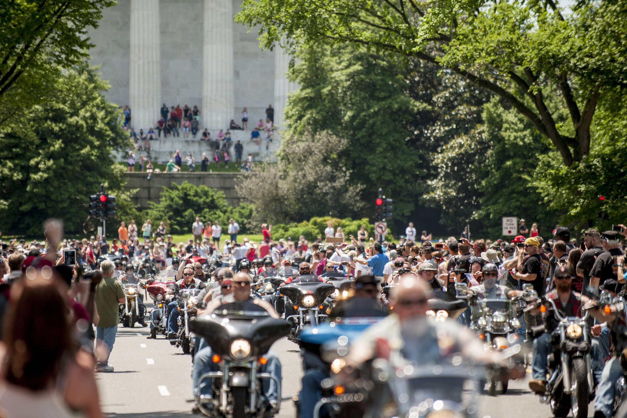 Riders Pass Through the Streets of As Spectators Look on During the Rolling Thunder Xxviii First Amendment Demonstration Run in Washington Dc Usa 24 May 2015 the Annual Gathering First Started in 1988 the Riders who Come From Around the United States and Other Countries Rally at the Pentagon Parking and Then Ride Through the Spectator Lined Streets of Washington D C United States Washington