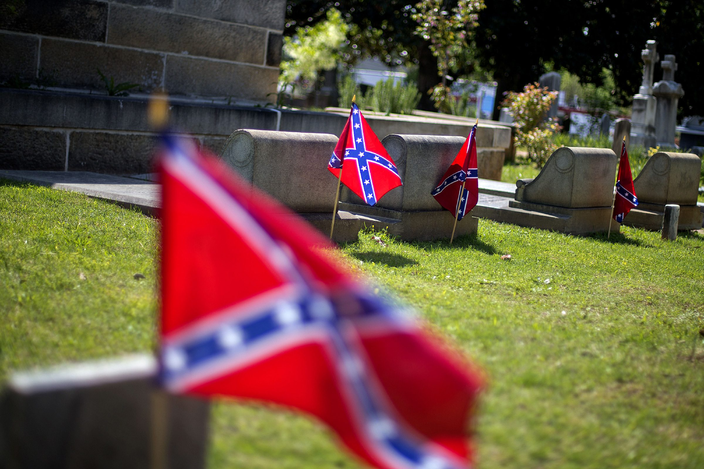 Confederate flags are planted next to the graves of Confederate soldiers in Oakland cemetery, in Atlanta. Georgia observes Confederate Memorial Day Monday marking the anniversary of the end of the Civil War. While April 26th is officially recognized as Confederate Memorial Day, state offices are closed Monday in observance of the holiday