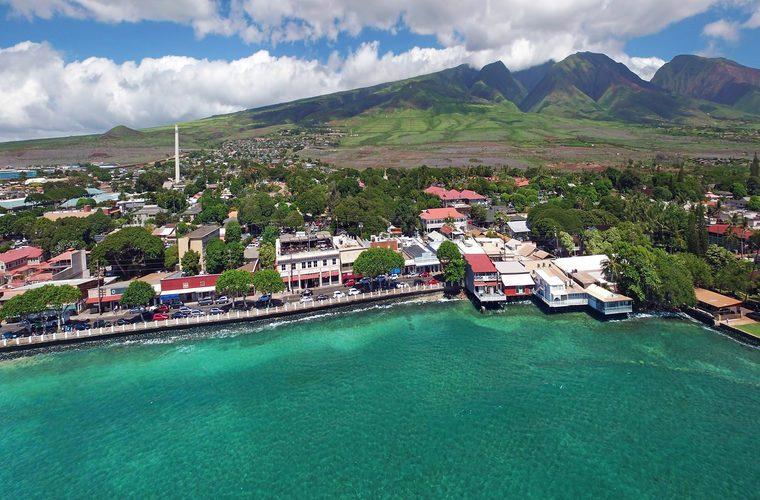 Drone Aerial Panorama - Lahaina Town - Island of Maui, Hawaii