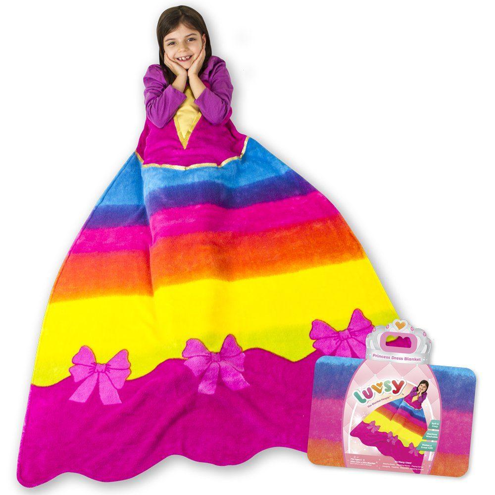 Luvsy Princess Dress Blanket - Throw for Kids, Soft All Season Sleeping Blanket, Rainbow Pattern