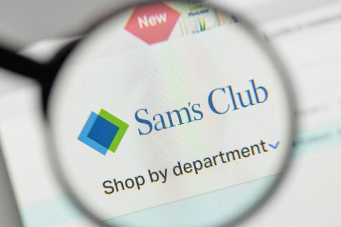 Milan, Italy - November 1, 2017: Sam's Club logo on the website homepage.