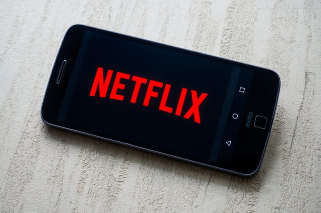 MOSCOW, RUSSIA - DECEMBER 19, 2018: Netflix logo on smartphone screen