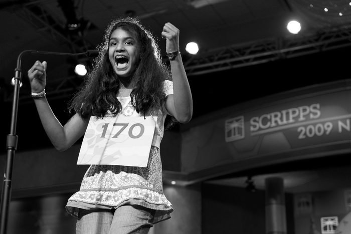 Neetu Chandak of Geneva New York Celebrates After Correctly Spelling the Word 'Perciatelli' in the Semi-final Round of the Scripps National Spelling Bee at the Grand Hyatt Hotel in Washington Dc in Washington Dc Usa on 28 May 2009 the Annual Event Began in 1925 with Nine Contestants This Year 293 Children Competed Epa/matthew Cavanaugh United States Washington