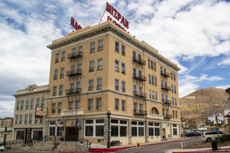 TONOPAH,NEVADA,USA-SEPTEMBER 2: The Mizpah hotel greets visitors in Tonopah on September 2, 2013. This historic hotel was the tallest building in Nevada until 1929 and is still open for business.