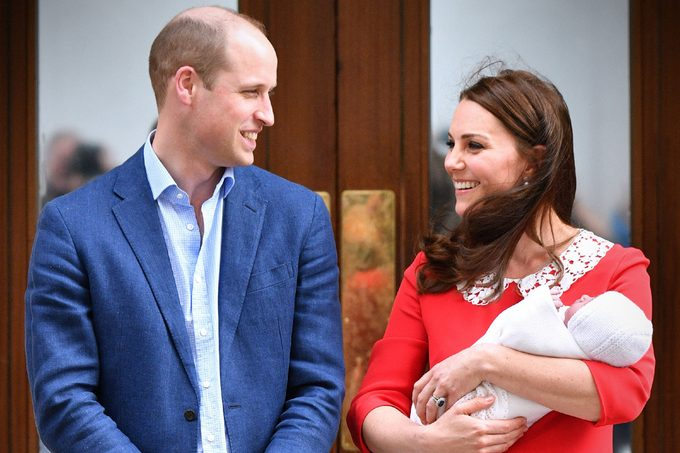 Catherine Duchess of Cambridge and Prince William leaving hospital with their newborn baby boy