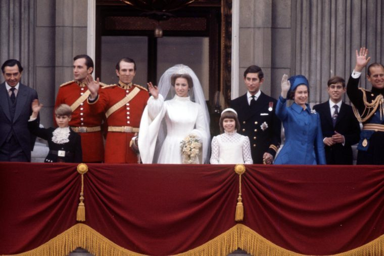 Prince Charles on the balcony of Buckingham Palace at his sister Princess Anne's wedding to Captain Mark Phillips with Prince Edward, Princess Anne, Prince Andrew, Queen Elizabeth II and Prince Philip