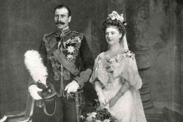Princess Alice of Albany Later Countess of Athlone (1883-1981) and Prince Alexander of Teck Later Alexander Cambridge 1st Earl of Athlone (1874-1957) Photographed On Their Wedding Day the Wedding Took Place On 10 February 1904 at St George's Chapel Windsor 10-Feb-04